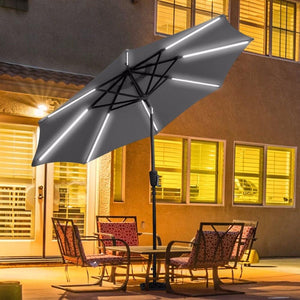 Giantex 9 FT Patio Solar Umbrella LED Tilt Deck Waterproof Garden Market Beach Gray Outdoor Furniture OP3246GR - Free + Shipping