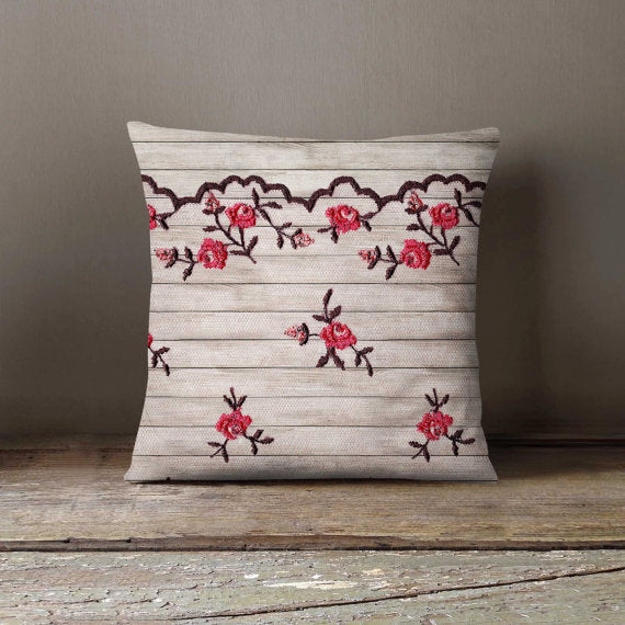 Flowers Lace Wod Pillowcase Decorative Throw