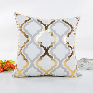 45cmX45cm Gold Foil Printing Square Pillow Case