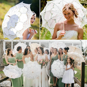 Lace Embroidered Sun Parasol Umbrella Bridal Wedding Dancing Party Photo Show