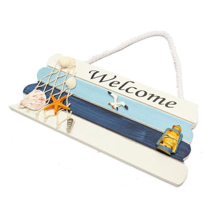 KiWarm Mediterranean Ocean Nautical Welcome Wooden Sign with Star Fishes Shell for Home Bar Shop Door Plaque Hanging Decor Craft