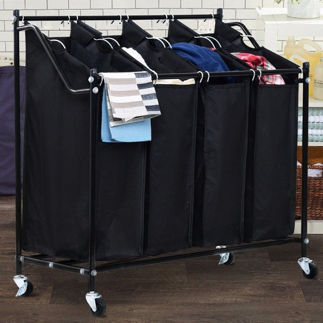 4 Bag Rolling Laundry Sorter Cart Hamper