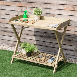 Console Serving Table Wood Potting Bench