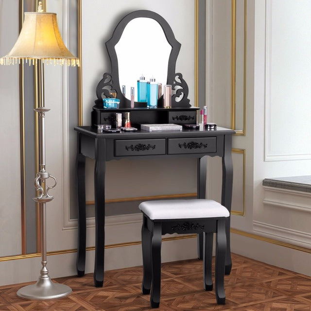 Makeup Dressing Set Table Jewelry Wooden