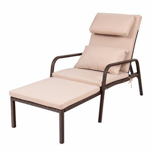 Pull Out Chaise Lounge Rattan Chair Wicker