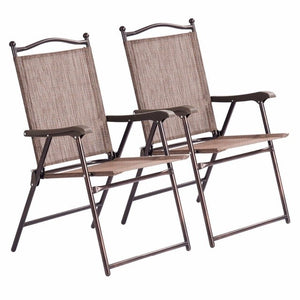 Set of 2 Patio Folding Sling Back Chairs