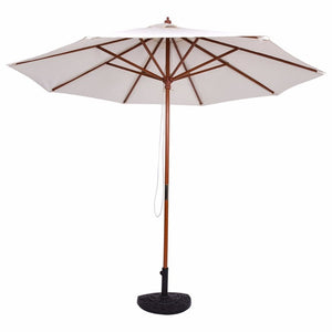 Adjustable 9FT Wooden Patio Umbrella Wood