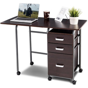 Folding Computer Laptop Desk Wheeled Home