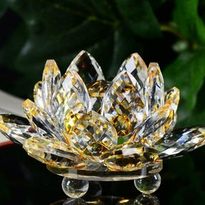 Lotus Crystal Glass Figure Paperweight Ornament