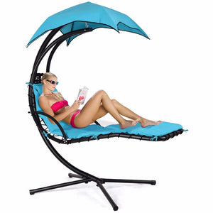 Giantex Hanging Chaise Lounger Chair Arc Stand Porch Swing Hammock Chair W/ Canopy Blue Outdoor Furniture  OP3460BL