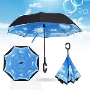 Windproof Umbrella Folding Double Layer Inverted Chuva Umbrellas Self Stand Inside Out Rain