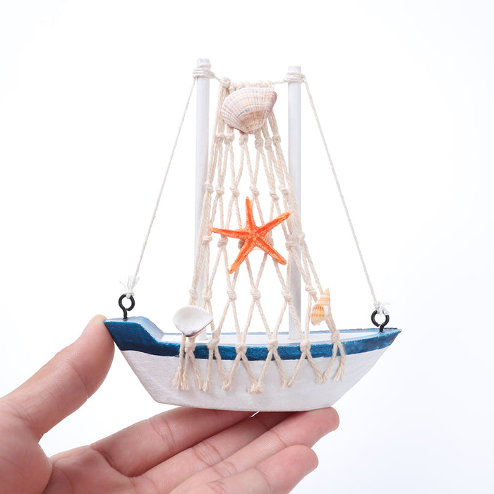 1PC Mediterranean Style Marine Nautical Wooden Blue Sailing Boat Ship Wood Crafts Ornaments Party Room Home Decoration