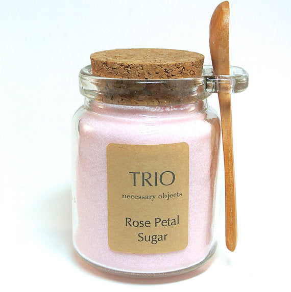 Pink Rose Petal Sugar, 8 oz  Glass Sugar Jar