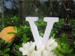 8cm Wood carving  Artificial  Wooden White Letters Alphabet  ZAKKA Home  Decoration wedding  decorations imitation Wood letter