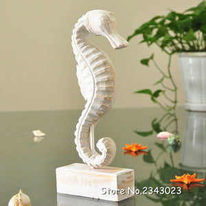 NOOLIM Newest Mediterranean Style Wood Crafts  Starfish Conch Hippocampus Wood Carving Marine Home Decor