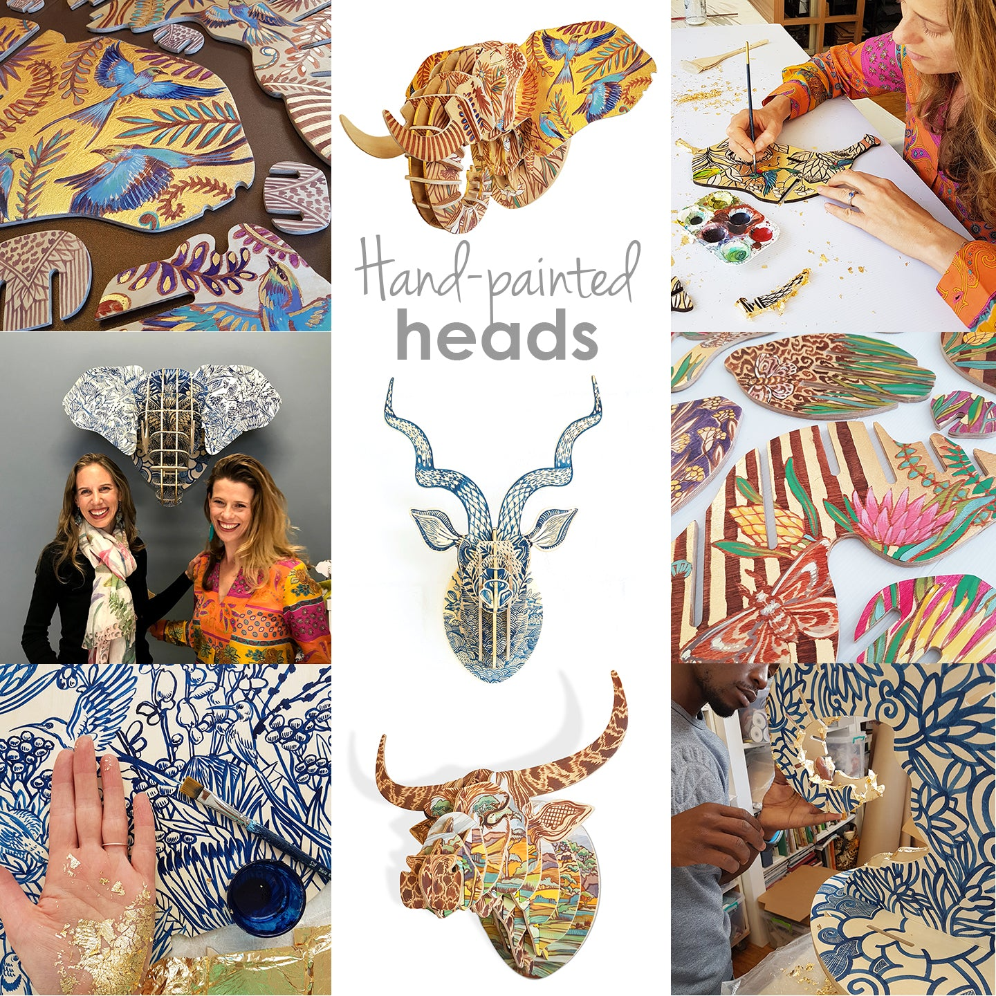Hand painted animal heads by artist Sharon Boonzaier