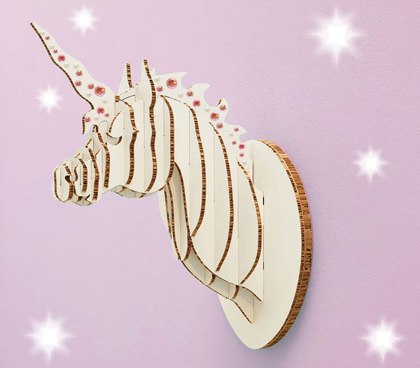Unicorn Head in X-Board (med), flat packed, Head On Design, kids decor