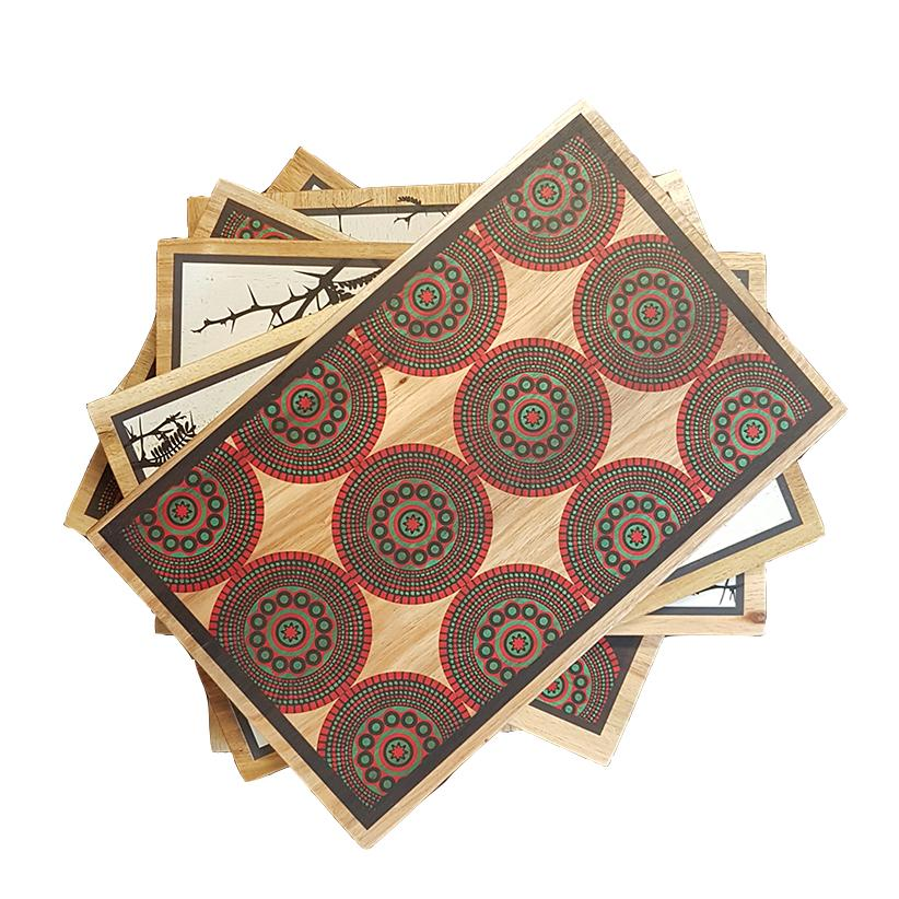 Designer Chopping Acacia Board with African Shweshwe print