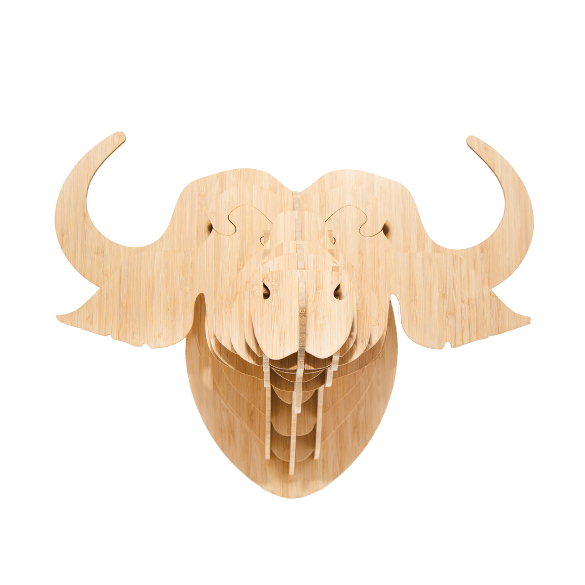 Buffalo Trophy Head in Bamboo (med)