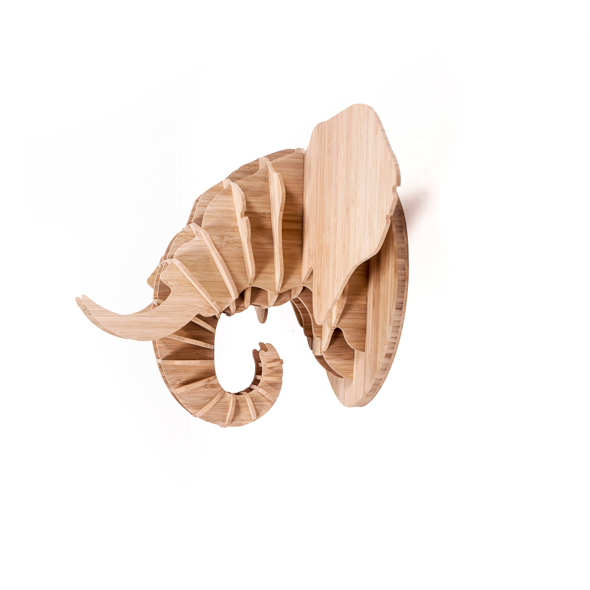 Elephant head sculpture in bamboo