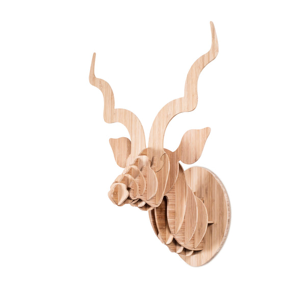 Head On Design kudu head sculpture in bamboo