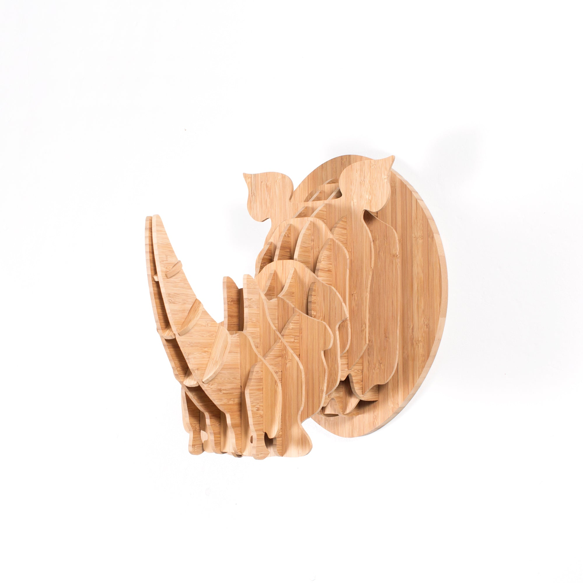Rhino trophy head in bamboo, Head On design, flat packed
