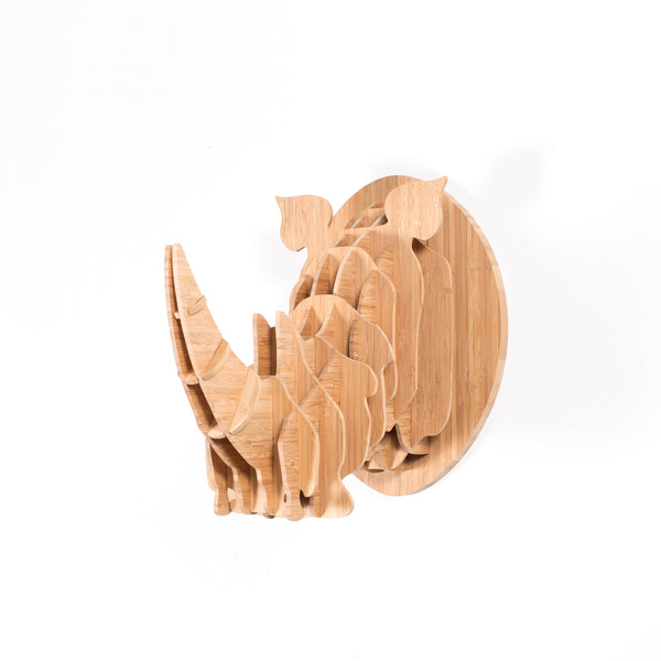 Rhino Trophy Head in Bamboo (med)