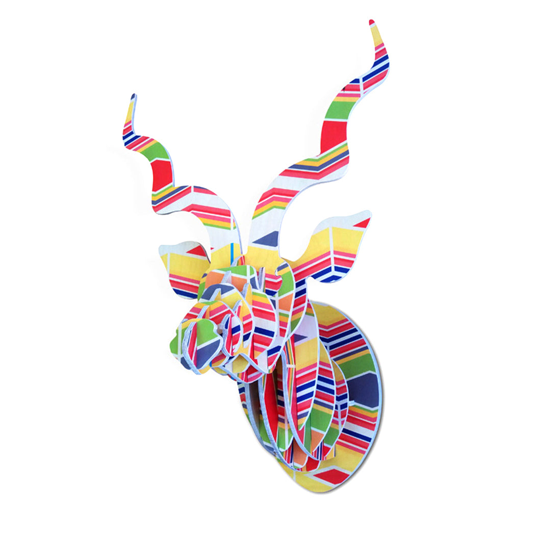 Head On Design, Kudu head, celebration colourful  print