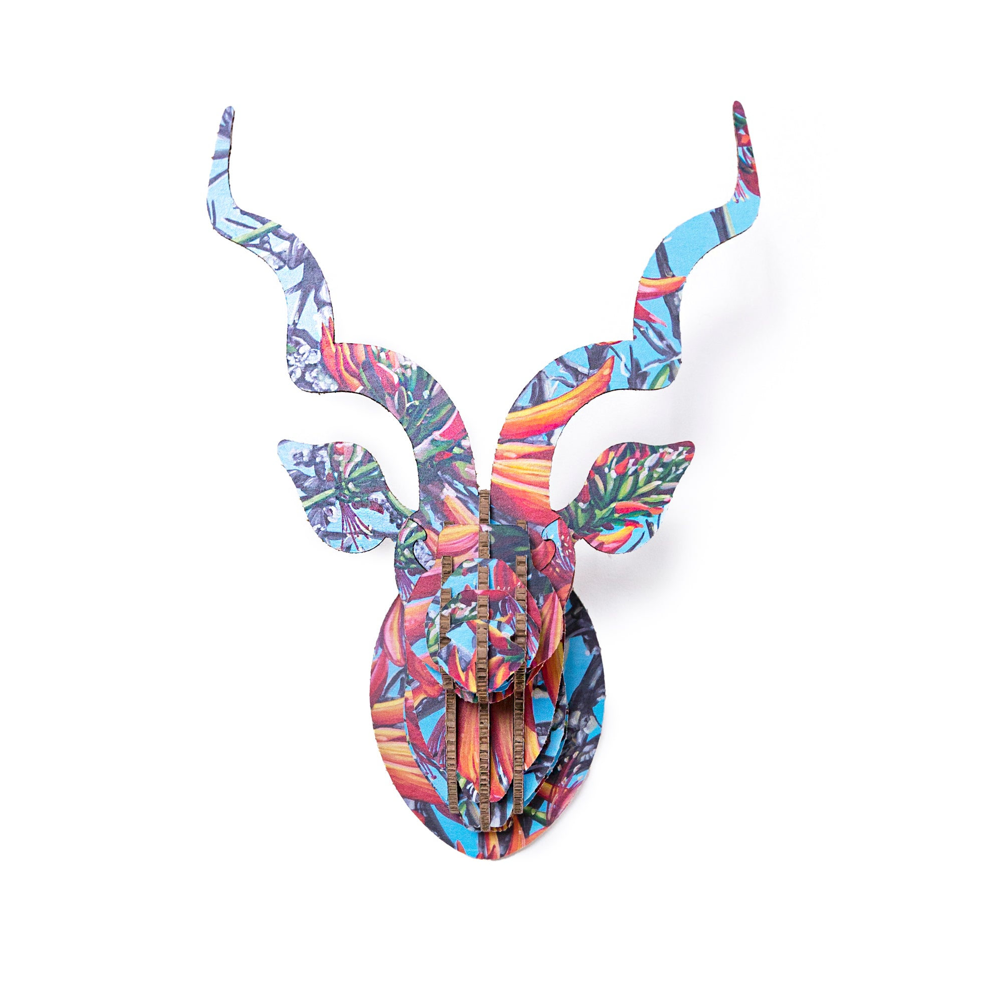 Head On Design Coral Tree kudu head Claudia Gurwitz print
