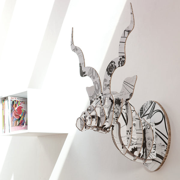 Head On Design kudu head sculpture in recycled board Sharon Boonzaier print