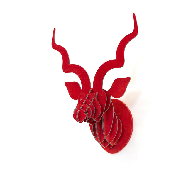 Head On Design Red Suede kudu head