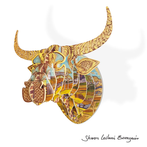 Painted Nguni Bull Head by Sharon Boonzaier