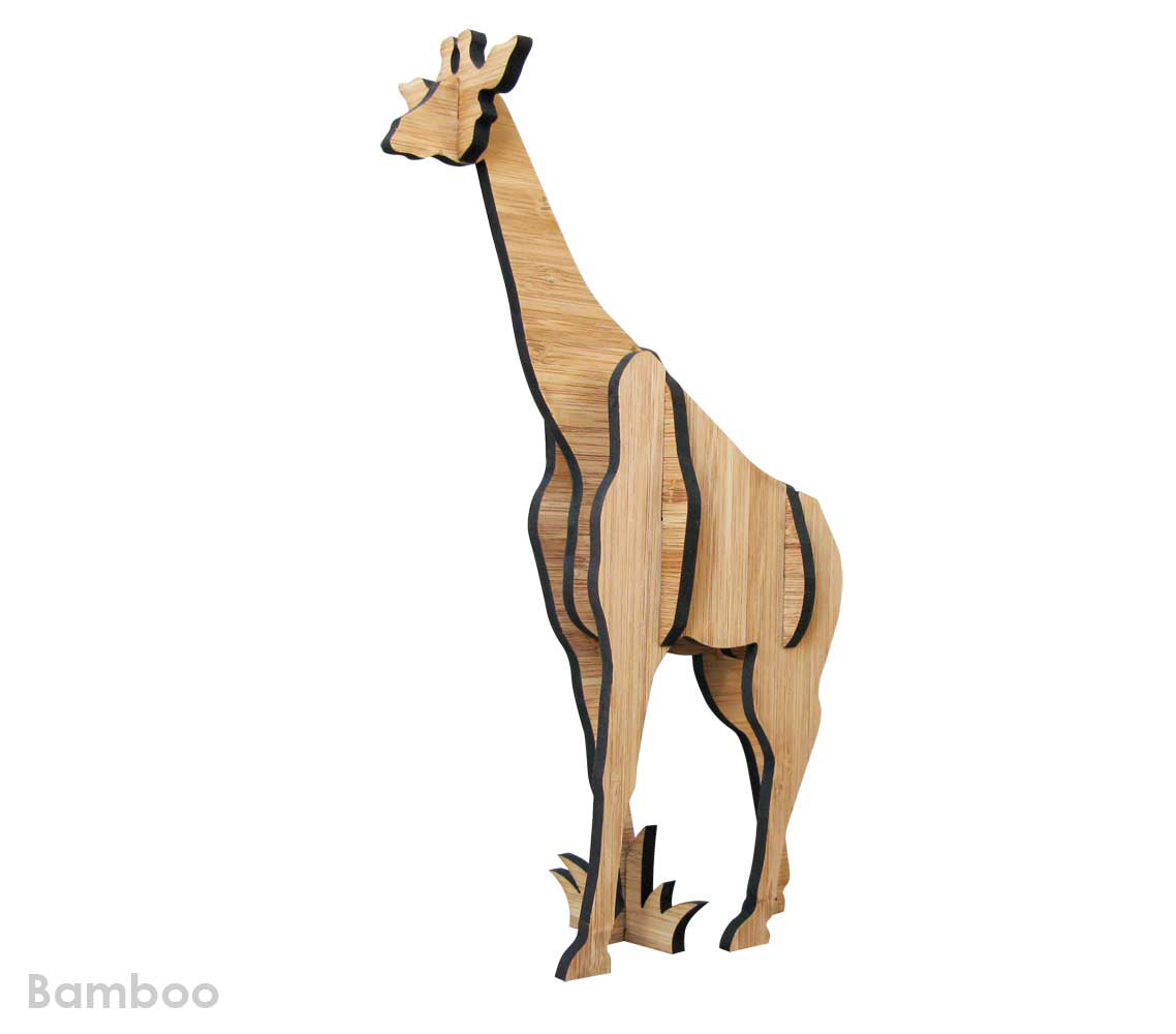 Giraffe in bamboo, freestanding sculpture, kids decor