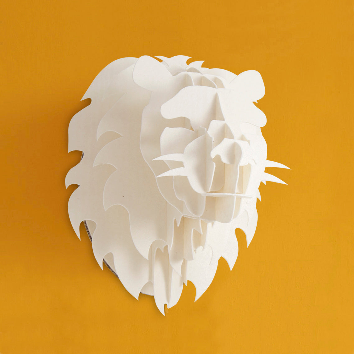 Head On Design diy lion head in recycled board