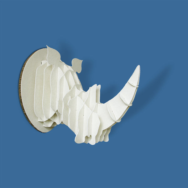 Rhino head, kids decor, DIY, Flat pack, head on design, recycled paperboard