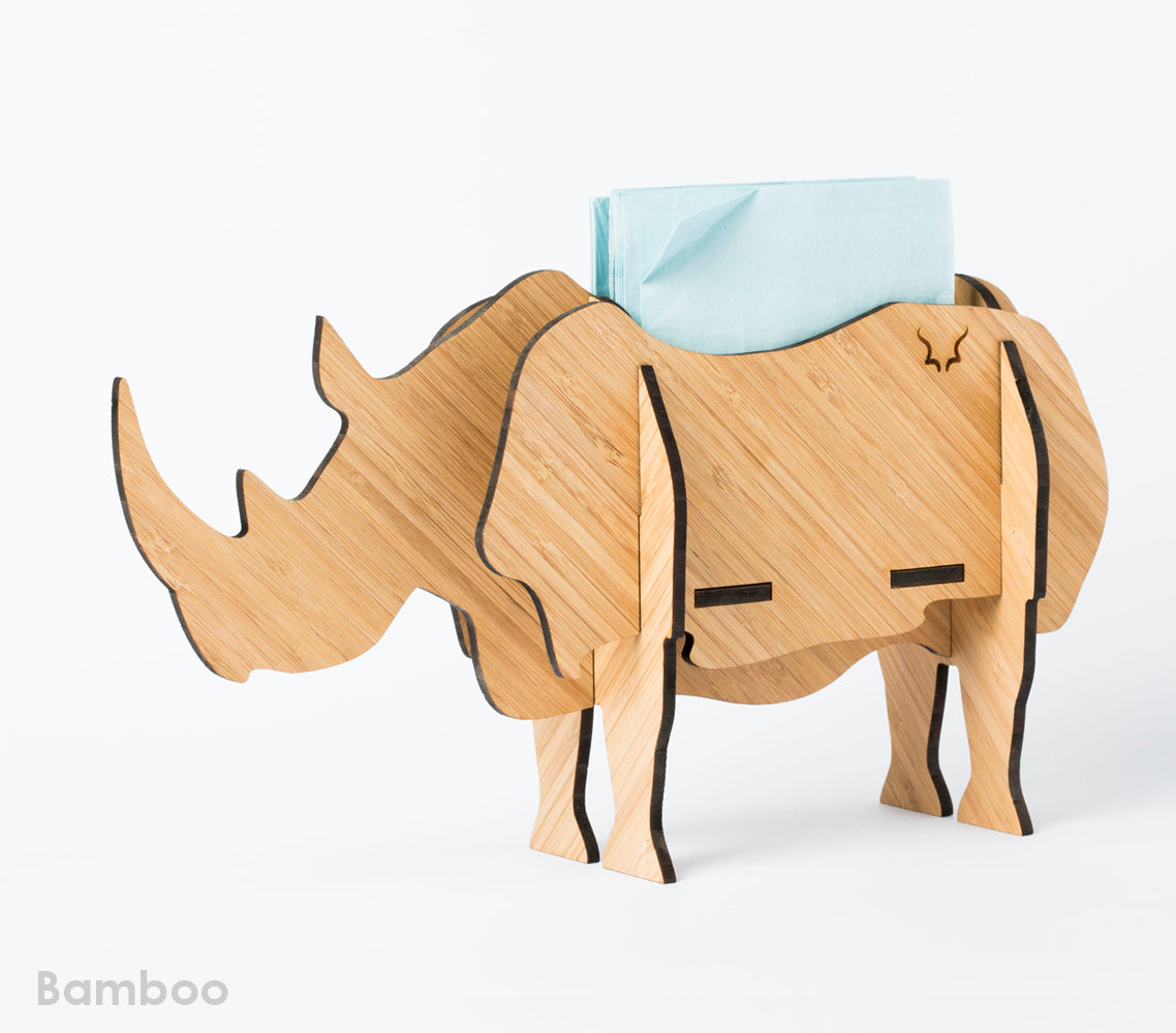 Table decor, Rhino in bamboo, Head on design