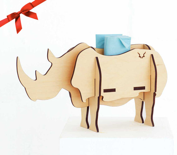 Table decor, Rhino in birch ply, Head on design