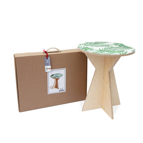 Geometric Side Table with Luscious Leaf print