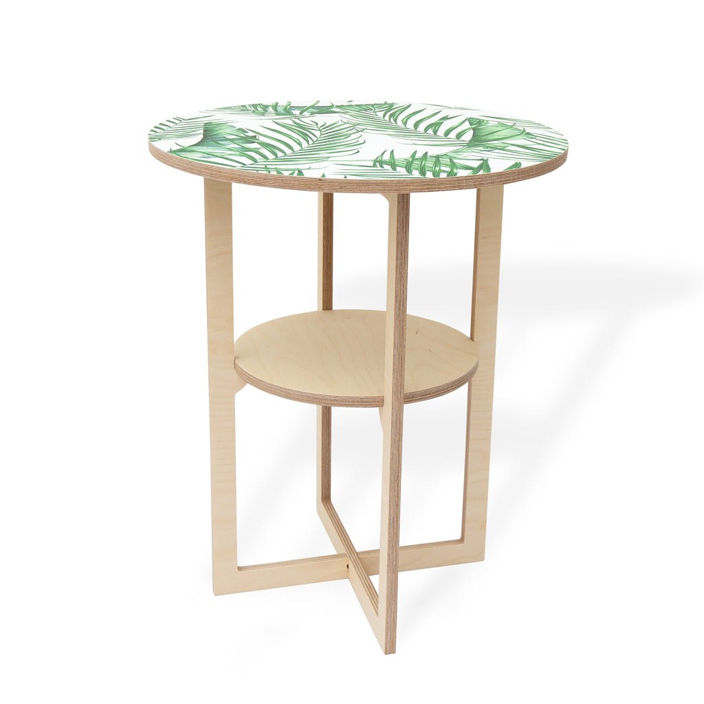 Square Leg Side Table with Luscious Leaf print, Flat packed, Head On Design