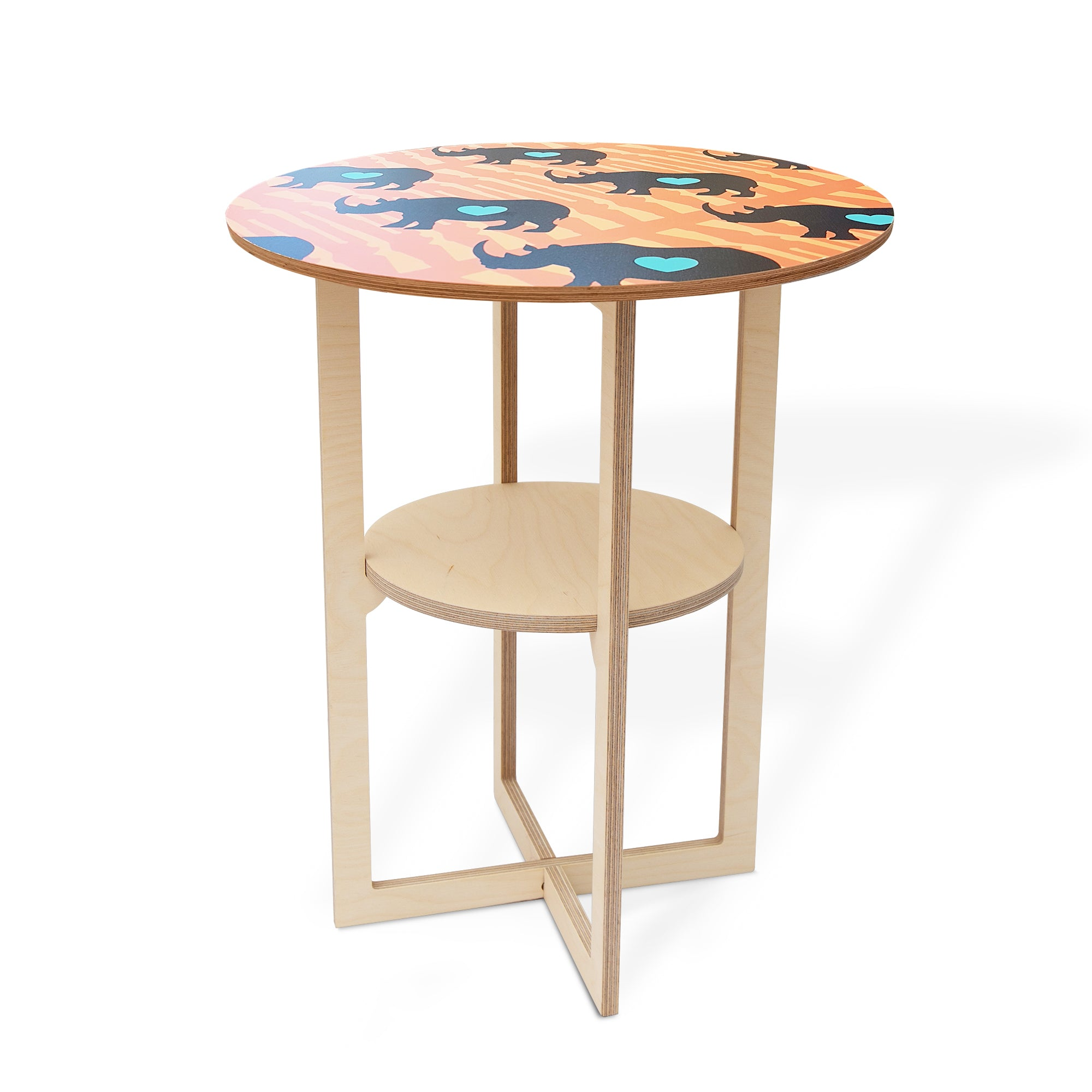 Side Table with Rhino print