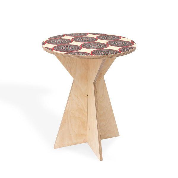 Geometric Side Table with Shweshwe print