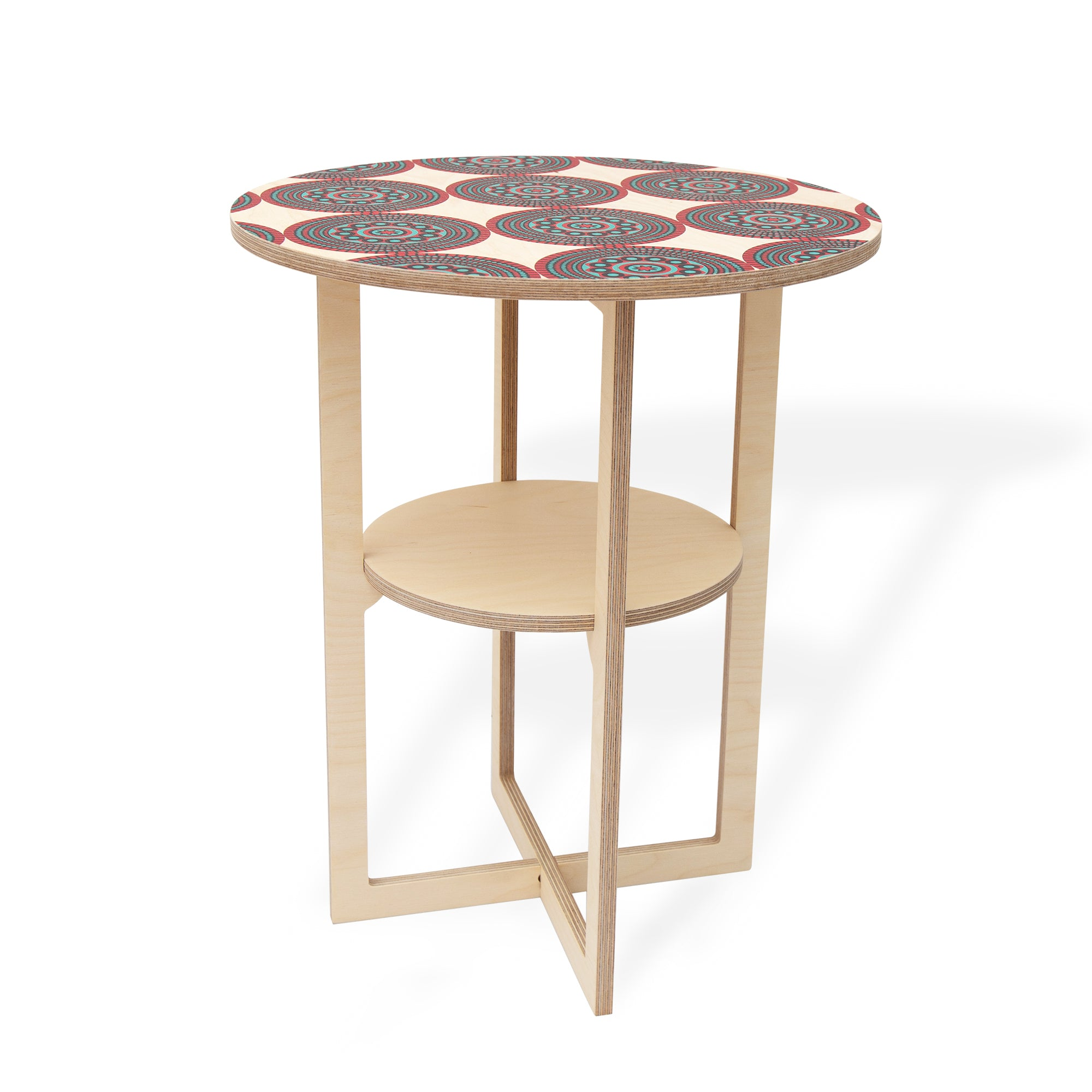 Square Leg Side Table with SHWESHWE print, Flat packed, Head On Design