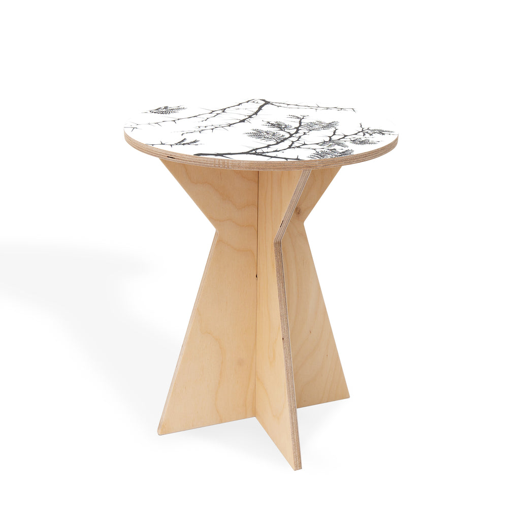 Geometric Side Table with Camel Thorn print