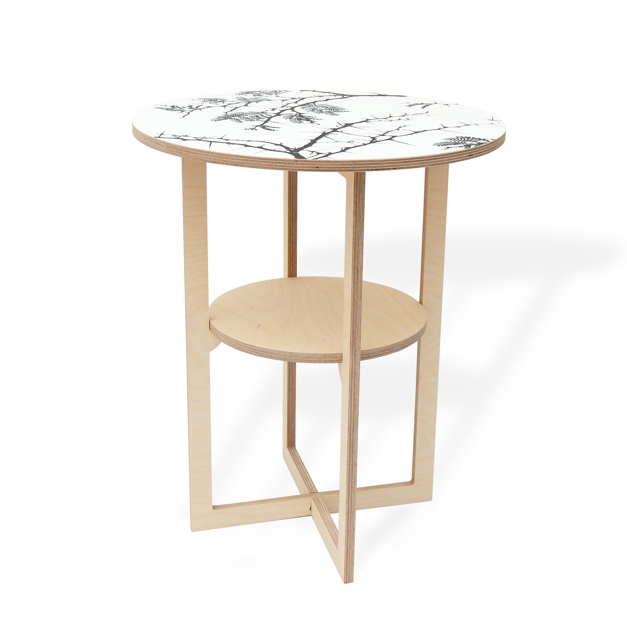 Square Leg Side Table with Camel Thorn print, Flat packed, Head On Design