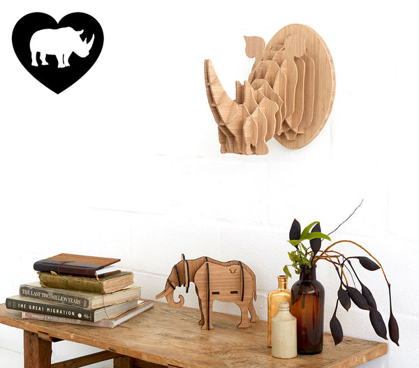Rhino trophy head in bamboo, Head On design, flat packed, wall decor