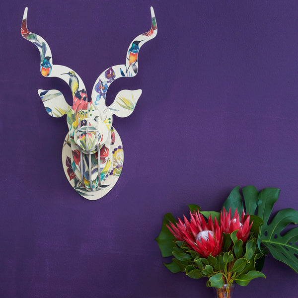Kudu Head with Fynbos Print