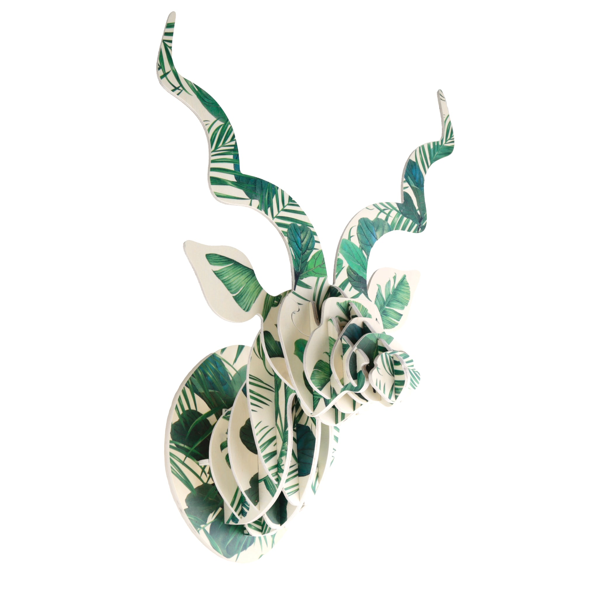 Kudu Trophy Head with Luscious Leaf print (med)