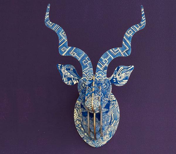 Painted Kudu Head (med) – Delft 'Koi Fish' Theme