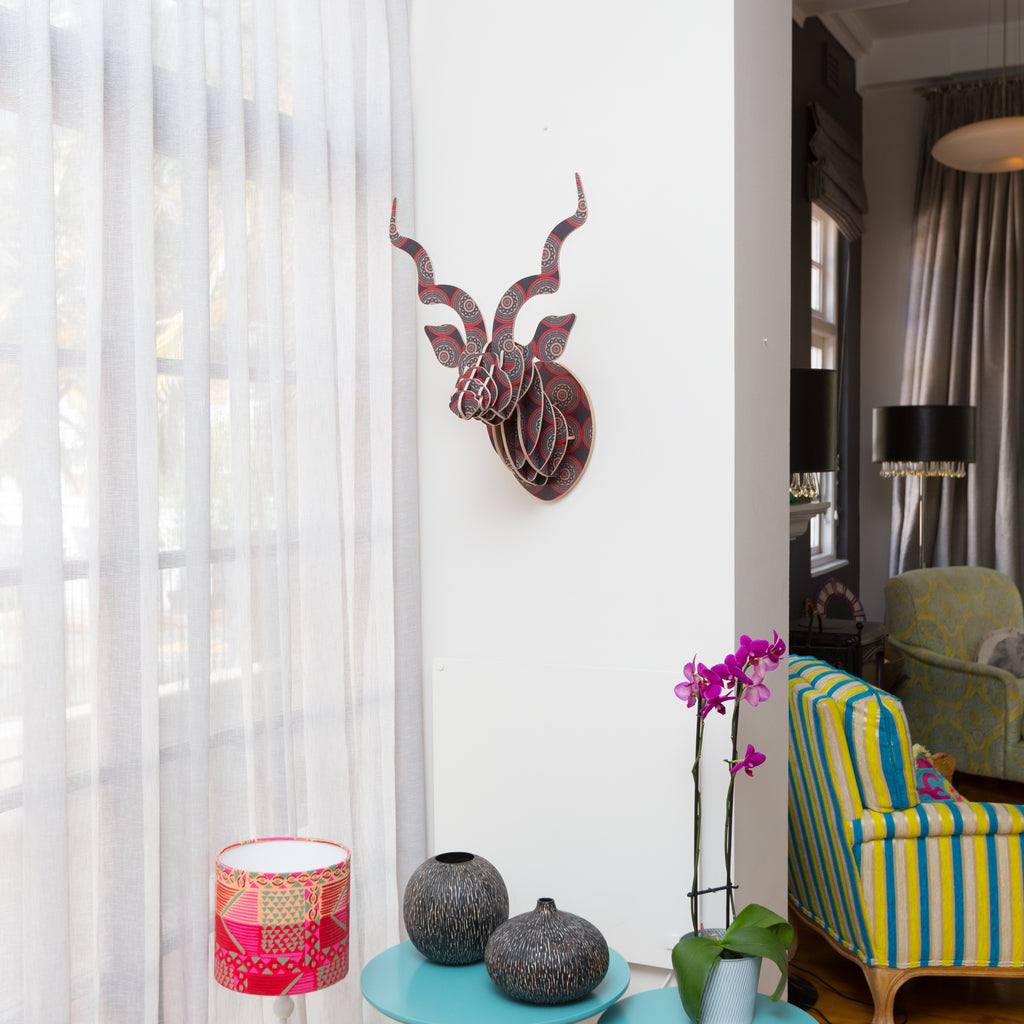 Head On Design, Kudu head, Shweshwe print