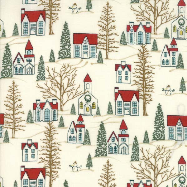 Winter Village - Houses on White Paper